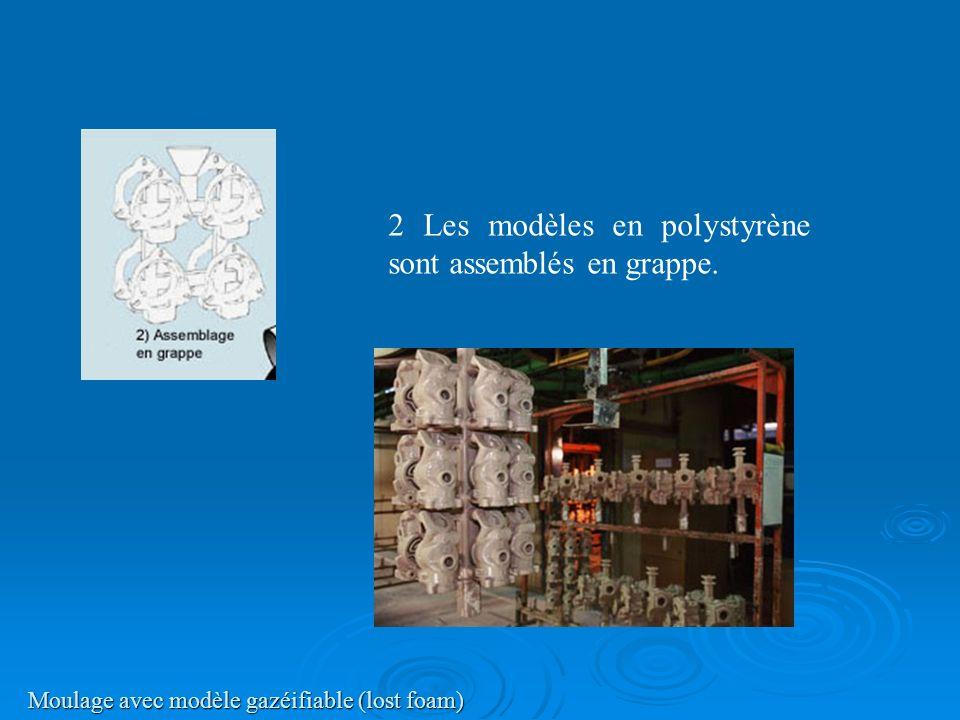 Moulage avec modèle gazéifiable (lost foam) 2 Les modèles en polystyrène sont assemblés en grappe.