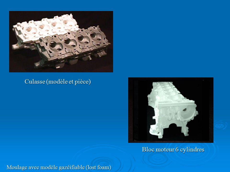 Culasse (modèle et pièce) Moulage avec modèle gazéifiable (lost foam) Bloc moteur 6 cylindres