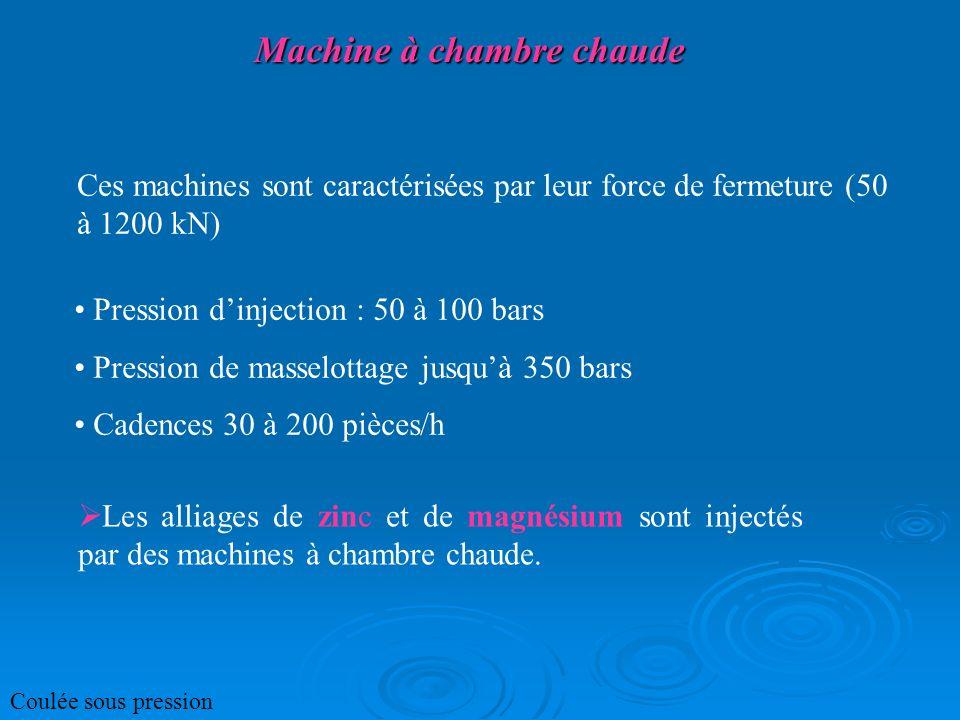 Machine à chambre chaude Pression dinjection : 50 à 100 bars Pression de masselottage jusquà 350 bars Cadences 30 à 200 pièces/h Coulée sous pression