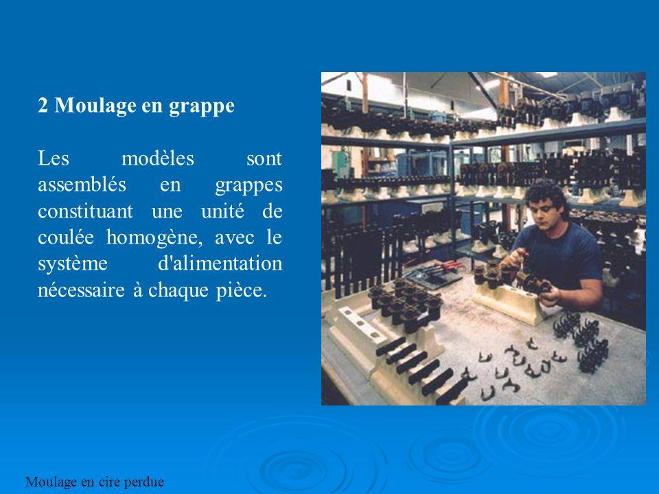 2 Moulage en grappe Les modèles sont assemblés en grappes constituant une unité de coulée homogène, avec le système d'alimentation nécessaire à chaque