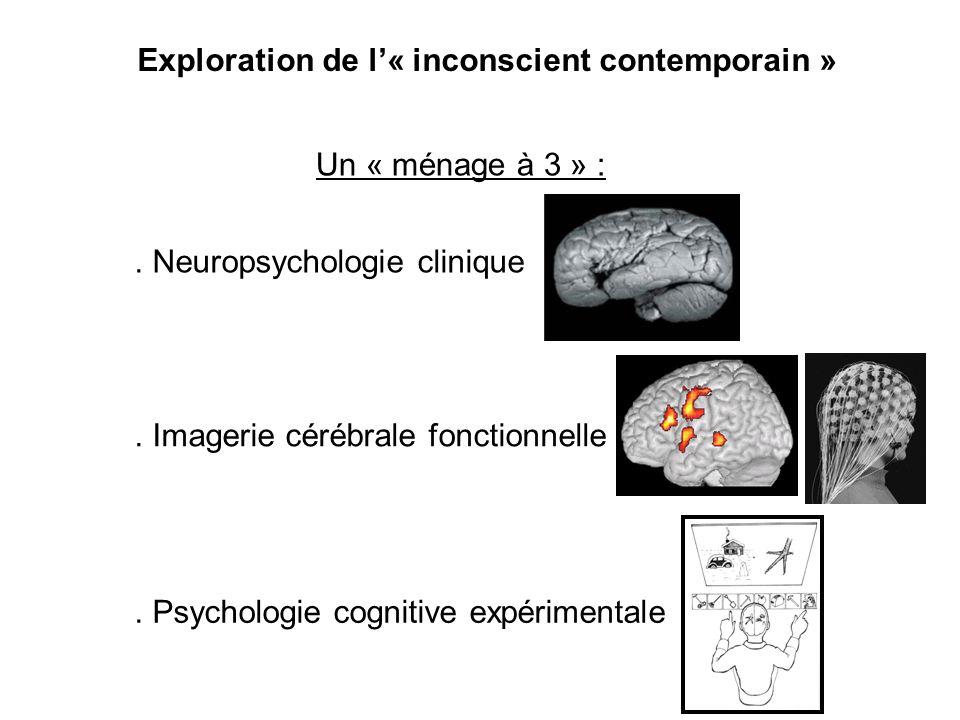 Exploration de l« inconscient contemporain » Un « ménage à 3 » :. Psychologie cognitive expérimentale. Neuropsychologie clinique. Imagerie cérébrale f