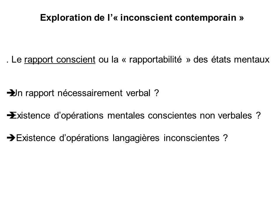 Exploration de l« inconscient contemporain ». Le rapport conscient ou la « rapportabilité » des états mentaux Un rapport nécessairement verbal ? Exist