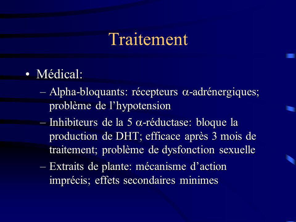 Traitement Médical:Médical: –Alpha-bloquants: récepteurs -adrénergiques; problème de lhypotension –Inhibiteurs de la 5 -réductase: bloque la productio