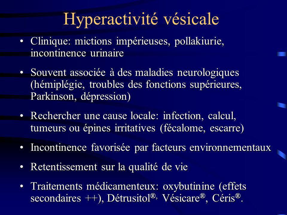 Hyperactivité vésicale Clinique: mictions impérieuses, pollakiurie, incontinence urinaireClinique: mictions impérieuses, pollakiurie, incontinence uri