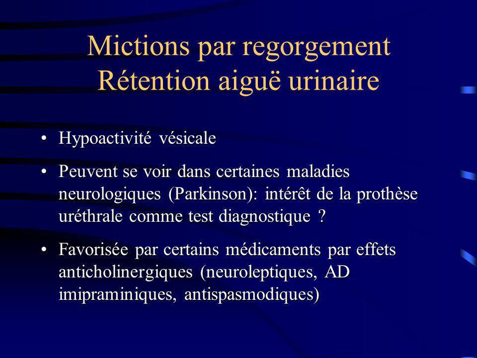 Mictions par regorgement Rétention aiguë urinaire Hypoactivité vésicaleHypoactivité vésicale Peuvent se voir dans certaines maladies neurologiques (Pa