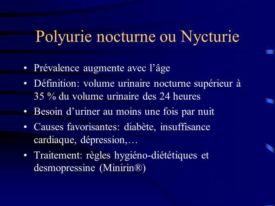 Polyurie nocturne ou Nycturie Prévalence augmente avec lâge Définition: volume urinaire nocturne supérieur à 35 % du volume urinaire des 24 heures Bes