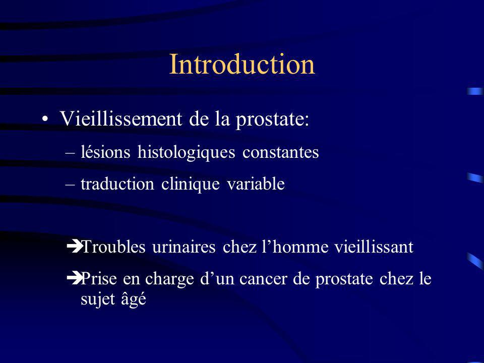 Introduction Vieillissement de la prostate: –lésions histologiques constantes –traduction clinique variable Troubles urinaires chez lhomme vieillissan