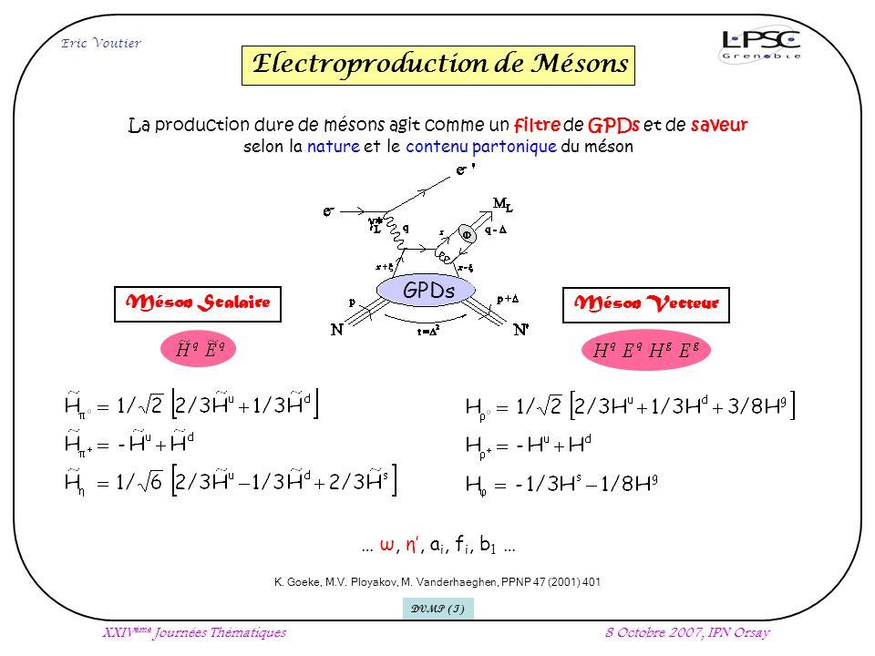 Electroproduction de Mésons Eric Voutier XXIV ème Journées Thématiques8 Octobre 2007, IPN Orsay La production dure de mésons agit comme un filtre de GPDs et de saveur selon la nature et le contenu partonique du méson K.