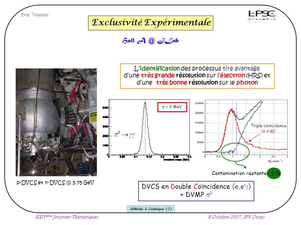 Eric Voutier XXIV ème Journées Thématiques8 Octobre 2007, IPN Orsay Méthodes & Techniques (I) Exclusivité Expérimentale Hall A @ JLab = 9 MeV p-DVCS et n-DVCS @ 5.75 GeV Triple coincidence (e,e p) Lidentification des processus tire avantage dune très grande résolution sur lélectron (HRS) et dune très bonne résolution sur le photon DVCS en Double Coïncidence (e,e ) + DVMP 0 Contamination restante < 3 %
