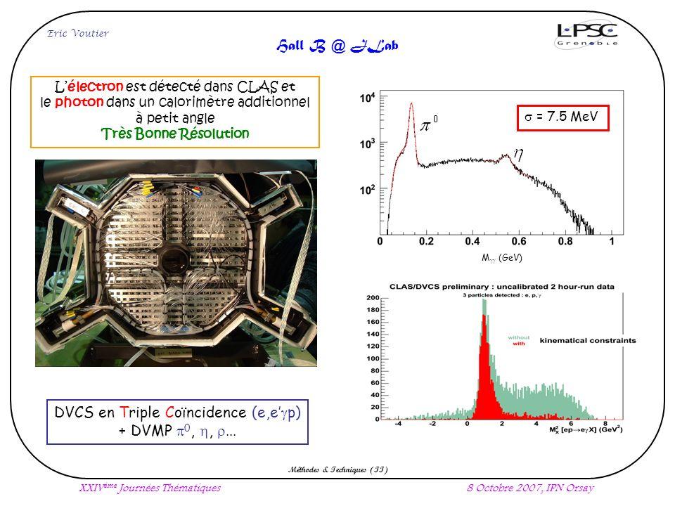 0 0 M (GeV) = 7.5 MeV Eric Voutier XXIV ème Journées Thématiques8 Octobre 2007, IPN Orsay Méthodes & Techniques (II) Hall B @ JLab DVCS en Triple Coïncidence (e,e p) + DVMP 0,, Lélectron est détecté dans CLAS et le photon dans un calorimètre additionnel à petit angle Très Bonne Résolution