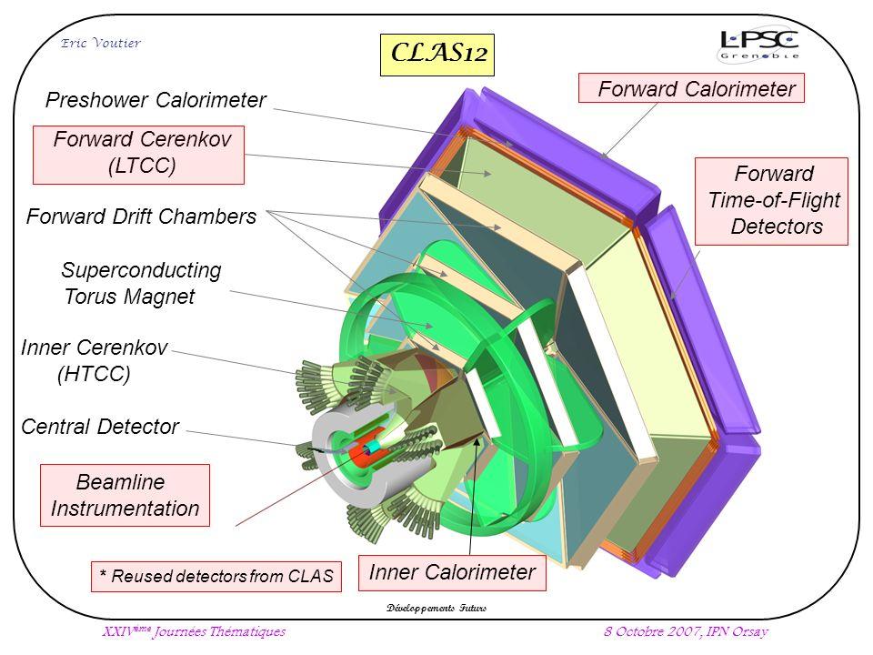 Forward Calorimeter Forward Cerenkov (LTCC) Beamline Instrumentation Preshower Calorimeter Forward Drift Chambers Inner Cerenkov (HTCC) Superconducting Torus Magnet Central Detector * Reused detectors from CLAS Inner Calorimeter XXIV ème Journées Thématiques8 Octobre 2007, IPN Orsay Développements Futurs Eric Voutier Forward Time-of-Flight Detectors CLAS12