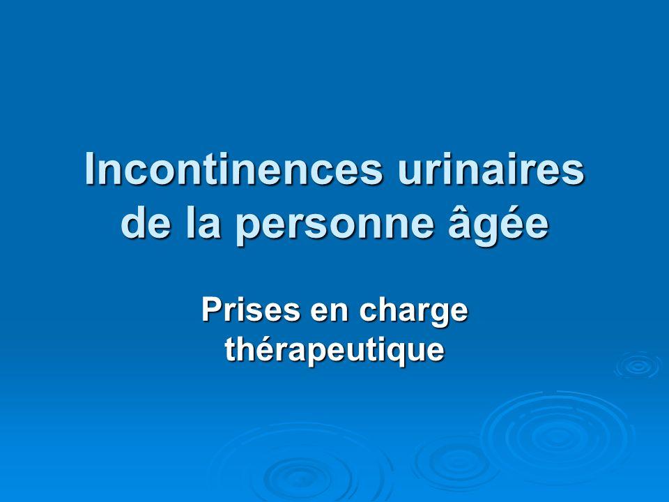 Interventions Pharmacologiques Incontinence par impériosité Incontinence par impériosité Oxybutynine (Ditropan) Oxybutynine (Ditropan) Imipramine (Tofranil) Imipramine (Tofranil) Incontinence deffort Incontinence deffort Gutron Gutron Pseudo-Ephedrine (Sudafed) Pseudo-Ephedrine (Sudafed) Oestrogènes (orale, transdermique ou transvaginale) Oestrogènes (orale, transdermique ou transvaginale)