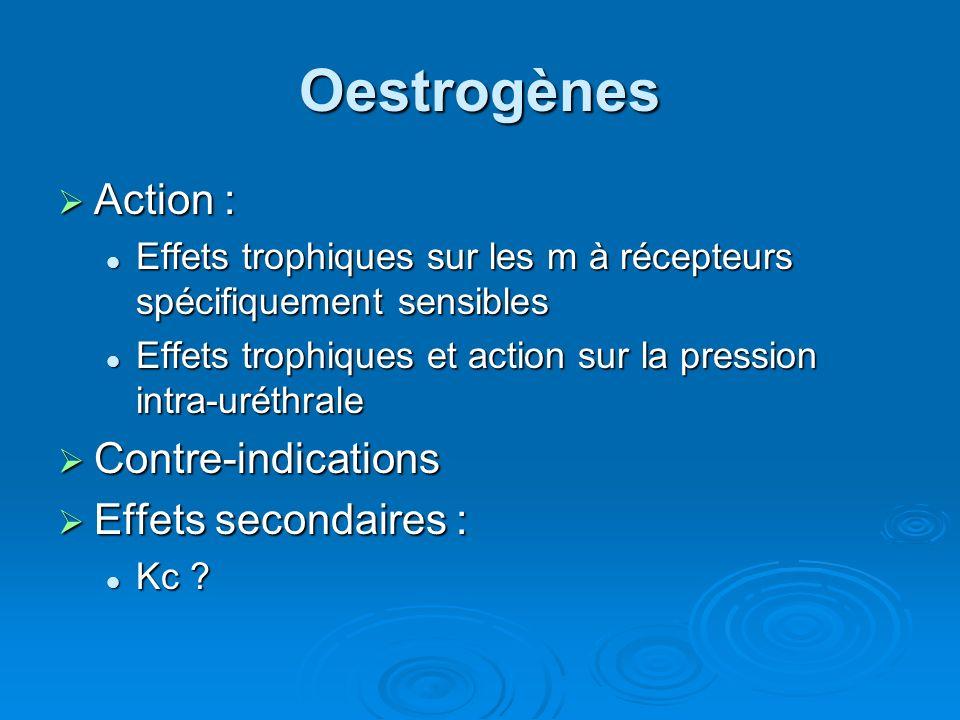 Oestrogènes Action : Action : Effets trophiques sur les m à récepteurs spécifiquement sensibles Effets trophiques sur les m à récepteurs spécifiquement sensibles Effets trophiques et action sur la pression intra-uréthrale Effets trophiques et action sur la pression intra-uréthrale Contre-indications Contre-indications Effets secondaires : Effets secondaires : Kc .