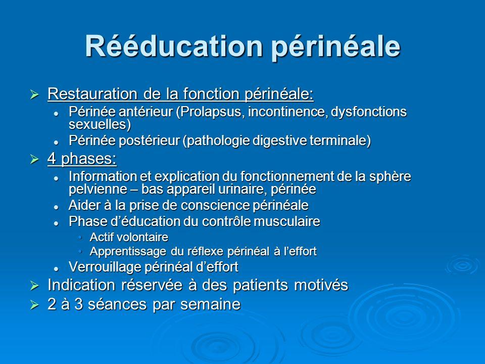 Rééducation périnéale Restauration de la fonction périnéale: Restauration de la fonction périnéale: Périnée antérieur (Prolapsus, incontinence, dysfonctions sexuelles) Périnée antérieur (Prolapsus, incontinence, dysfonctions sexuelles) Périnée postérieur (pathologie digestive terminale) Périnée postérieur (pathologie digestive terminale) 4 phases: 4 phases: Information et explication du fonctionnement de la sphère pelvienne – bas appareil urinaire, périnée Information et explication du fonctionnement de la sphère pelvienne – bas appareil urinaire, périnée Aider à la prise de conscience périnéale Aider à la prise de conscience périnéale Phase déducation du contrôle musculaire Phase déducation du contrôle musculaire Actif volontaireActif volontaire Apprentissage du réflexe périnéal à leffortApprentissage du réflexe périnéal à leffort Verrouillage périnéal deffort Verrouillage périnéal deffort Indication réservée à des patients motivés Indication réservée à des patients motivés 2 à 3 séances par semaine 2 à 3 séances par semaine