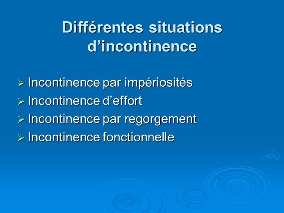 Différentes situations dincontinence Incontinence par impériosités Incontinence par impériosités Incontinence deffort Incontinence deffort Incontinence par regorgement Incontinence par regorgement Incontinence fonctionnelle Incontinence fonctionnelle