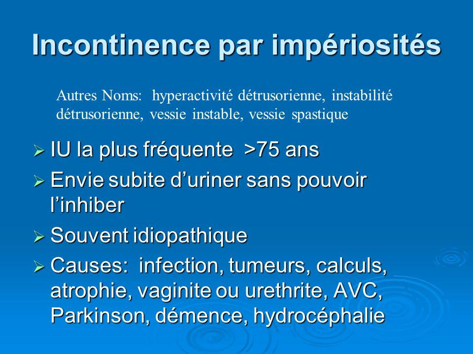 IU la plus fréquente >75 ans IU la plus fréquente >75 ans Envie subite duriner sans pouvoir linhiber Envie subite duriner sans pouvoir linhiber Souvent idiopathique Souvent idiopathique Causes: infection, tumeurs, calculs, atrophie, vaginite ou urethrite, AVC, Parkinson, démence, hydrocéphalie Causes: infection, tumeurs, calculs, atrophie, vaginite ou urethrite, AVC, Parkinson, démence, hydrocéphalie Autres Noms: hyperactivité détrusorienne, instabilité détrusorienne, vessie instable, vessie spastique