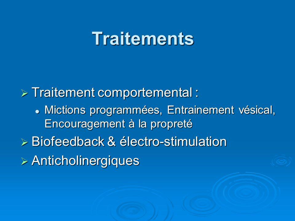 Traitements Traitement comportemental : Traitement comportemental : Mictions programmées, Entrainement vésical, Encouragement à la propreté Mictions programmées, Entrainement vésical, Encouragement à la propreté Biofeedback & électro-stimulation Biofeedback & électro-stimulation Anticholinergiques Anticholinergiques