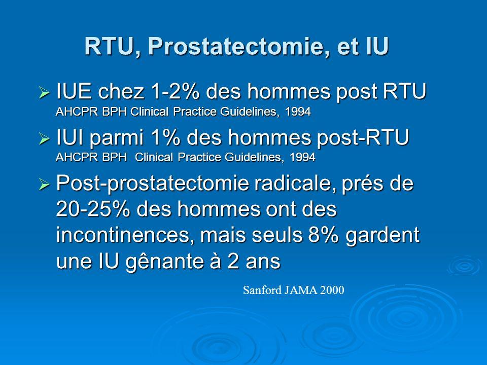 RTU, Prostatectomie, et IU IUE chez 1-2% des hommes post RTU AHCPR BPH Clinical Practice Guidelines, 1994 IUE chez 1-2% des hommes post RTU AHCPR BPH Clinical Practice Guidelines, 1994 IUI parmi 1% des hommes post-RTU AHCPR BPH Clinical Practice Guidelines, 1994 IUI parmi 1% des hommes post-RTU AHCPR BPH Clinical Practice Guidelines, 1994 Post-prostatectomie radicale, prés de 20-25% des hommes ont des incontinences, mais seuls 8% gardent une IU gênante à 2 ans Post-prostatectomie radicale, prés de 20-25% des hommes ont des incontinences, mais seuls 8% gardent une IU gênante à 2 ans Sanford JAMA 2000