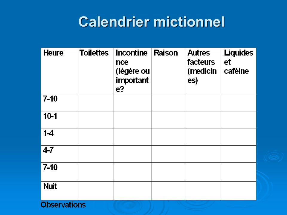 Calendrier mictionnel Calendrier mictionnel