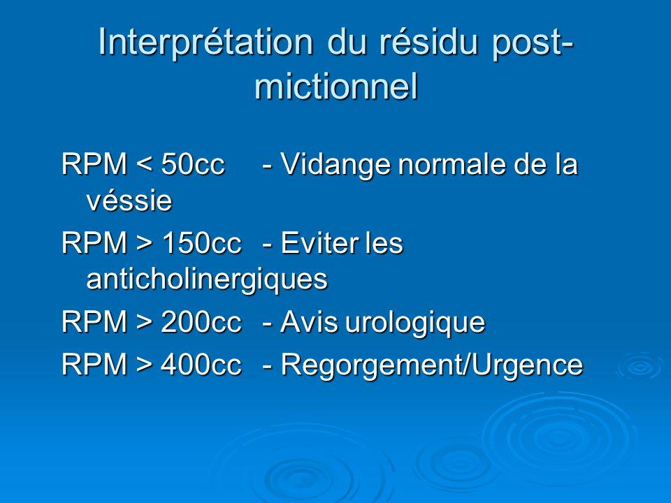 Interprétation du résidu post- mictionnel RPM < 50cc- Vidange normale de la véssie RPM > 150cc- Eviter les anticholinergiques RPM > 200cc- Avis urologique RPM > 400cc- Regorgement/Urgence