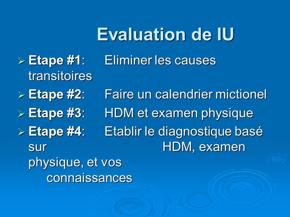 Evaluation de IU Etape #1: Eliminer les causes transitoires Etape #1: Eliminer les causes transitoires Etape #2: Faire un calendrier mictionel Etape #2: Faire un calendrier mictionel Etape #3: HDM et examen physique Etape #3: HDM et examen physique Etape #4: Etablir le diagnostique basé sur HDM, examen physique, et vos connaissances Etape #4: Etablir le diagnostique basé sur HDM, examen physique, et vos connaissances
