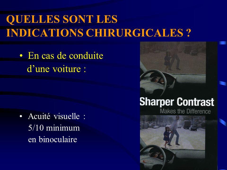 QUELLES SONT LES INDICATIONS CHIRURGICALES ? En cas de conduite dune voiture : Acuité visuelle : 5/10 minimum en binoculaire