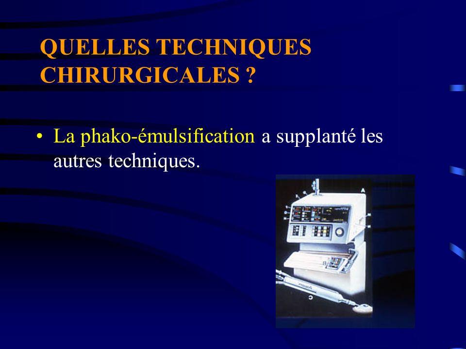 QUELLES TECHNIQUES CHIRURGICALES ? La phako-émulsification a supplanté les autres techniques.