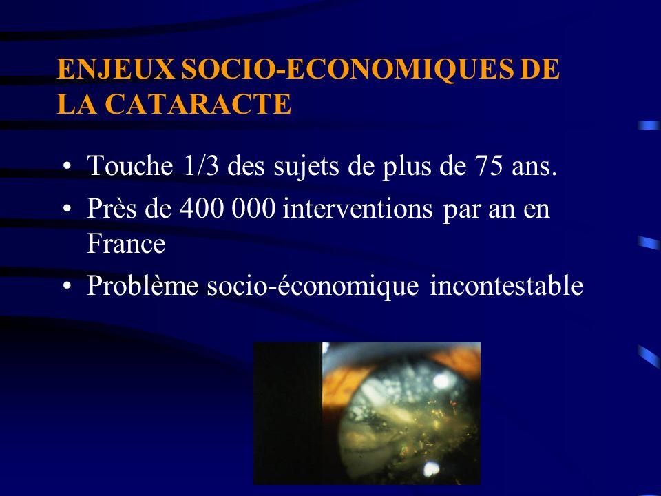 ENJEUX SOCIO-ECONOMIQUES DE LA CATARACTE Touche 1/3 des sujets de plus de 75 ans. Près de 400 000 interventions par an en France Problème socio-économ