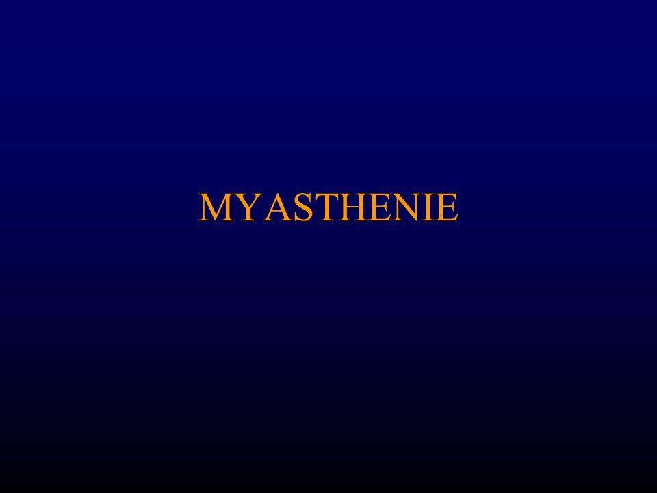DIAGNOSTIC DIFFERENTIEL Autres blocs neuro-musculaires: 1.Botulisme: –Syndrome myasthéniforme et troubles de laccommodation, précédé de troubles digestifs(douleurs abdominales, constipation, sécheresse buccale) 2.Syndrome de Lambert Eaton –Syndrome paranéoplasique –Incrément (bloc pré-synaptique)