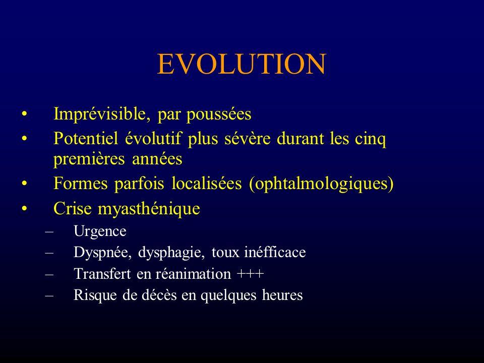 EVOLUTION Imprévisible, par poussées Potentiel évolutif plus sévère durant les cinq premières années Formes parfois localisées (ophtalmologiques) Cris