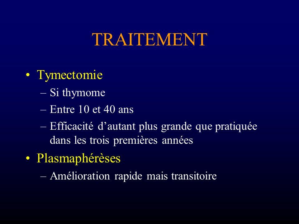 TRAITEMENT Tymectomie –Si thymome –Entre 10 et 40 ans –Efficacité dautant plus grande que pratiquée dans les trois premières années Plasmaphérèses –Am