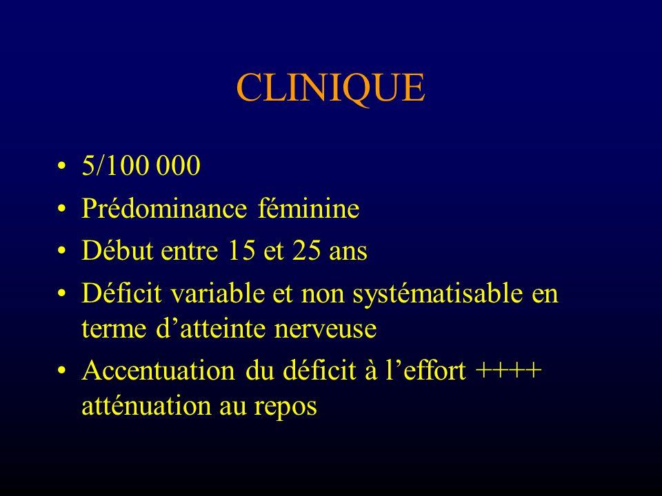 CLINIQUE Atteinte ophtalmologique –Révélatrive 50% –Diplopie transitoire –Ptôsis asymétrique –Respect de la musculature intrinsèque (photomoteurs normaux)