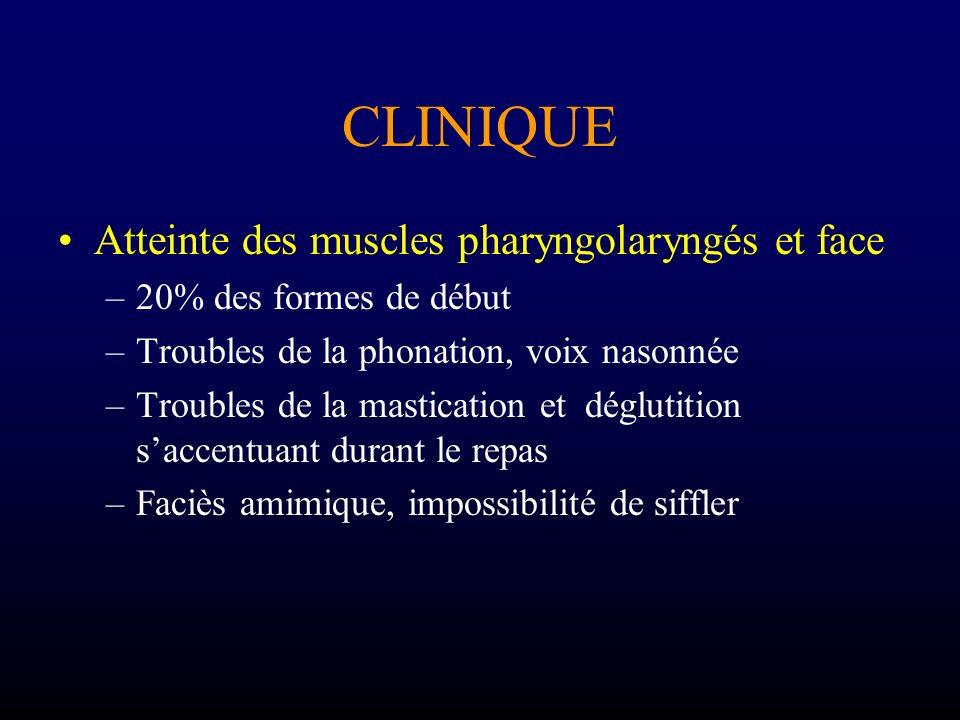 CLINIQUE Atteinte des muscles pharyngolaryngés et face –20% des formes de début –Troubles de la phonation, voix nasonnée –Troubles de la mastication e