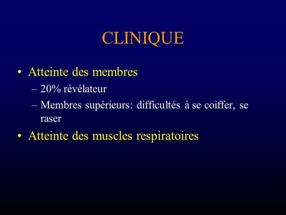 CLINIQUE Atteinte des membres –20% révélateur –Membres supérieurs: difficultés à se coiffer, se raser Atteinte des muscles respiratoires