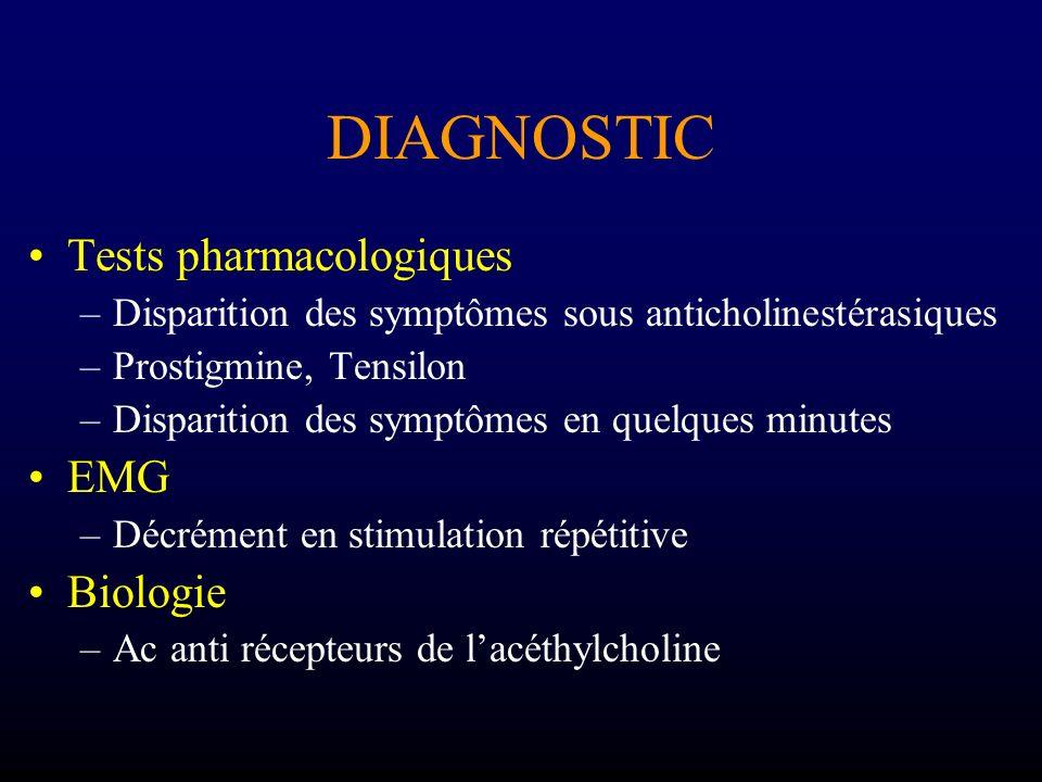 DIAGNOSTIC Diagnostic certain si 3 positifs /4 1.Déficit variable dans le temps et topographie 2.Test aux anti-cholinestérasiques positifs 3.Ac anti récepteurs + 4.Décrément sur EMG