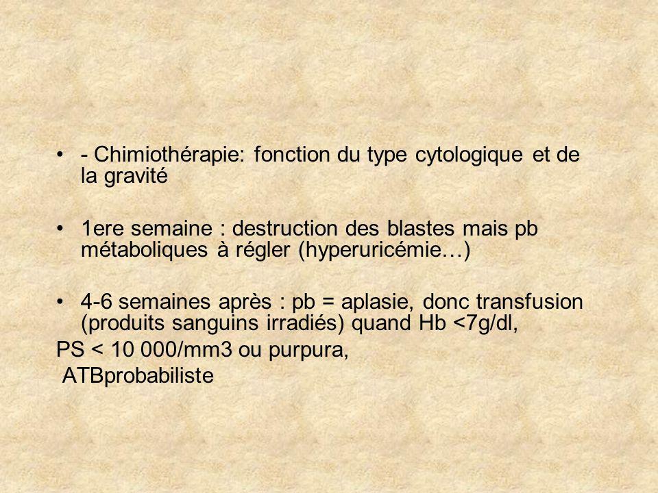 - Chimiothérapie: fonction du type cytologique et de la gravité 1ere semaine : destruction des blastes mais pb métaboliques à régler (hyperuricémie…)