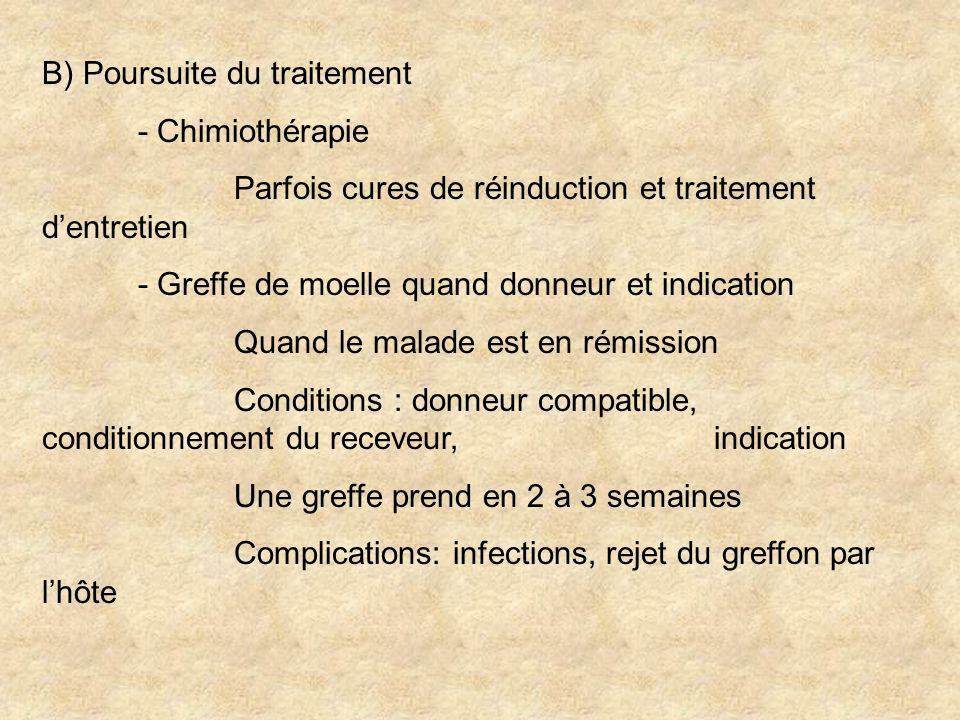 B) Poursuite du traitement - Chimiothérapie Parfois cures de réinduction et traitement dentretien - Greffe de moelle quand donneur et indication Quand