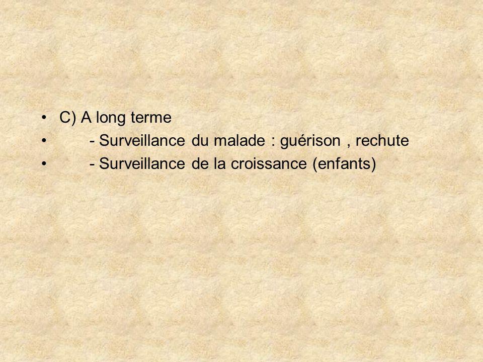 C) A long terme - Surveillance du malade : guérison, rechute - Surveillance de la croissance (enfants)
