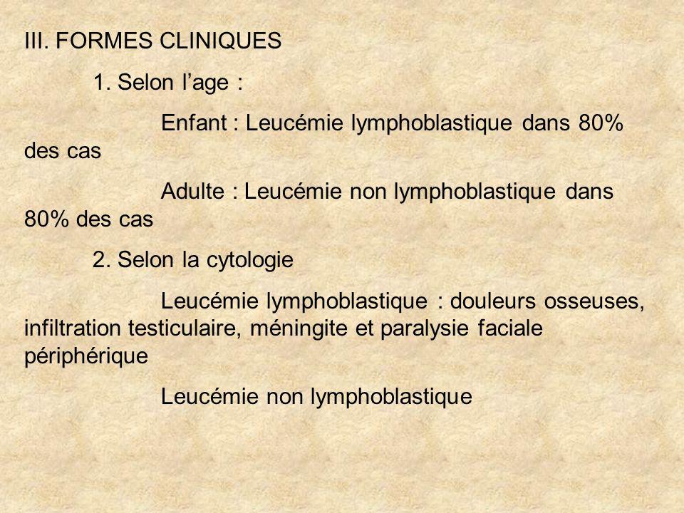IV.DIAGNOSTIC DIFFERENTIEL 1. Aplasie médullaire Myélogramme : moelle pauvre 2.
