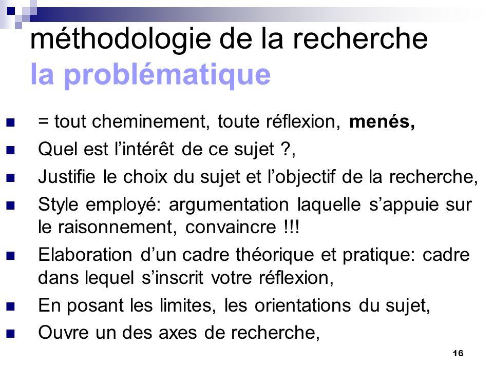 16 méthodologie de la recherche la problématique = tout cheminement, toute réflexion, menés, Quel est lintérêt de ce sujet ?, Justifie le choix du suj