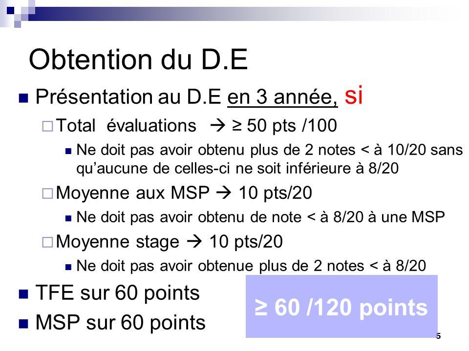 5 Obtention du D.E Présentation au D.E en 3 année, si Total évaluations 50 pts /100 Ne doit pas avoir obtenu plus de 2 notes < à 10/20 sans quaucune d