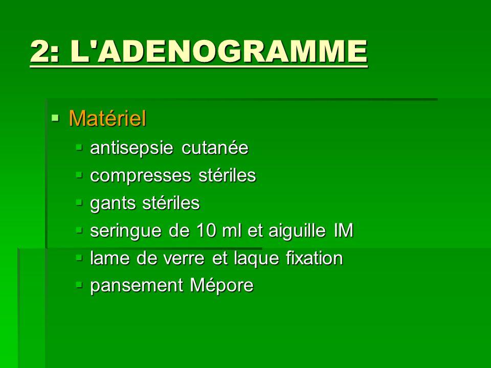2: L'ADENOGRAMME Matériel Matériel antisepsie cutanée antisepsie cutanée compresses stériles compresses stériles gants stériles gants stériles seringu