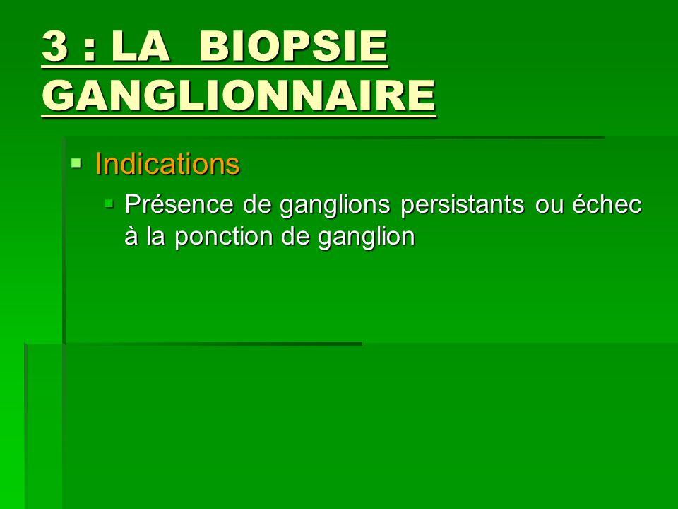 3 : LA BIOPSIE GANGLIONNAIRE Indications Indications Présence de ganglions persistants ou échec à la ponction de ganglion Présence de ganglions persis