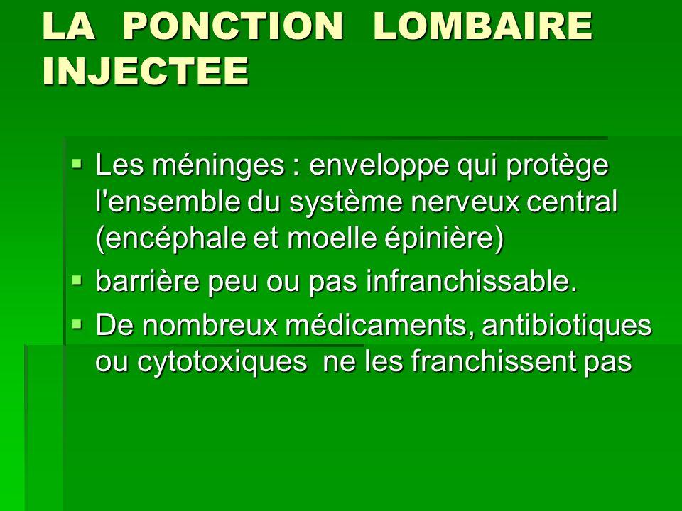 LA PONCTION LOMBAIRE INJECTEE Les méninges : enveloppe qui protège l'ensemble du système nerveux central (encéphale et moelle épinière) Les méninges :