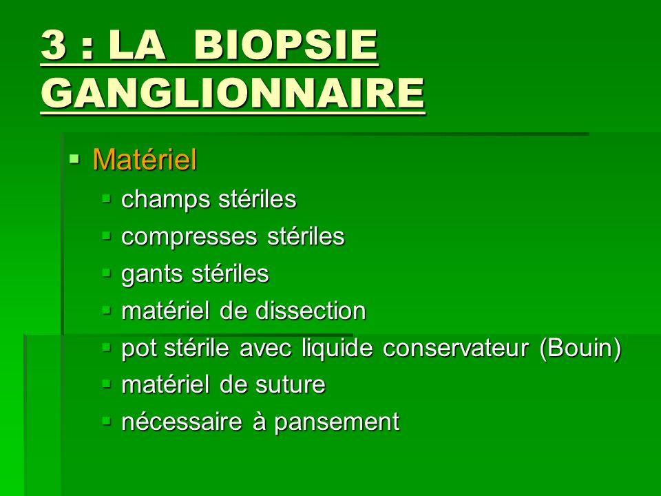 3 : LA BIOPSIE GANGLIONNAIRE Matériel Matériel champs stériles champs stériles compresses stériles compresses stériles gants stériles gants stériles m