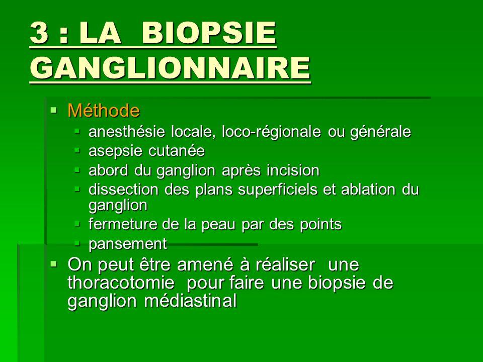 3 : LA BIOPSIE GANGLIONNAIRE Méthode Méthode anesthésie locale, loco-régionale ou générale anesthésie locale, loco-régionale ou générale asepsie cutan