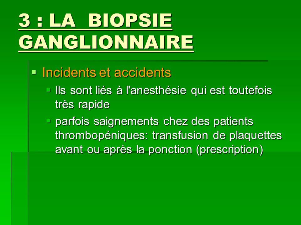 3 : LA BIOPSIE GANGLIONNAIRE Incidents et accidents Incidents et accidents Ils sont liés à l'anesthésie qui est toutefois très rapide Ils sont liés à