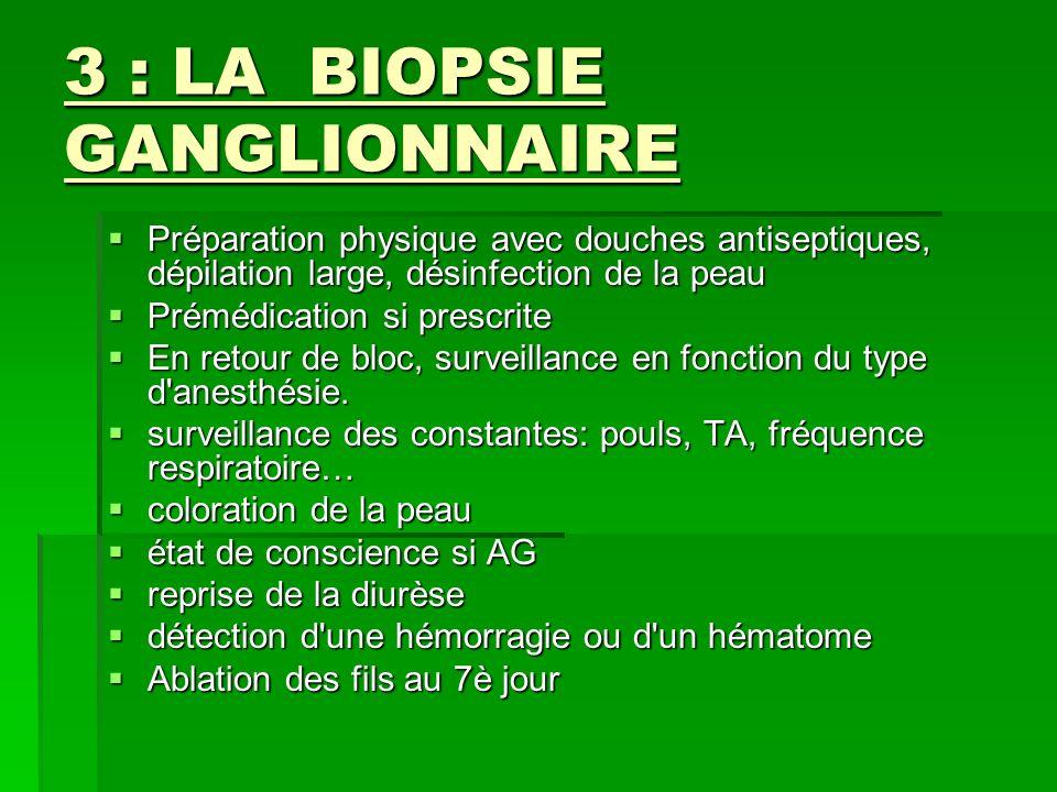 3 : LA BIOPSIE GANGLIONNAIRE Préparation physique avec douches antiseptiques, dépilation large, désinfection de la peau Préparation physique avec douc