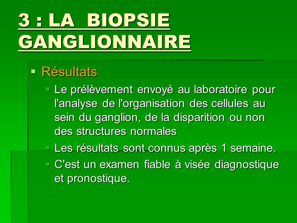 3 : LA BIOPSIE GANGLIONNAIRE Résultats Résultats Le prélèvement envoyé au laboratoire pour l'analyse de l'organisation des cellules au sein du ganglio