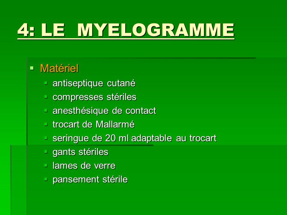 4: LE MYELOGRAMME Matériel Matériel antiseptique cutané antiseptique cutané compresses stériles compresses stériles anesthésique de contact anesthésiq